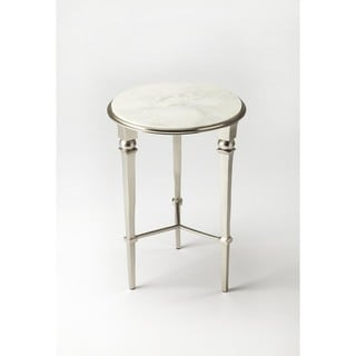 Handmade Darrieux White and Silvertone Iron and Aluminum End Table (India)