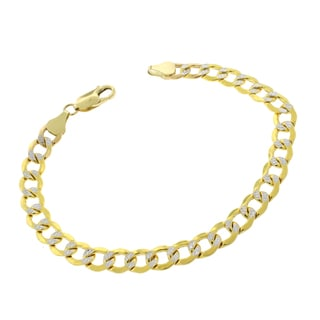 14k Gold 7mm Hollow Two-tone Cuban Curb Link Diamond-cut Pave Bracelet