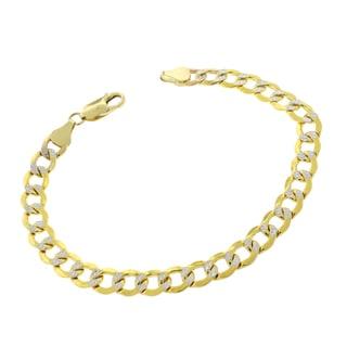 14k Gold 7mm Hollow Two-tone Cuban Curb Link Diamond-cut Pave Bracelet