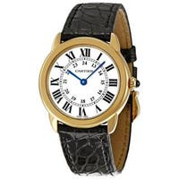 Cartier Women's W6700355 'Ronde Solo' 18kt Yellow Gold Black Leather Watch
