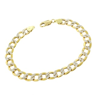 14k Gold 8mm Hollow Two-tone Cuban Curb Link Diamond-cut Pave Bracelet