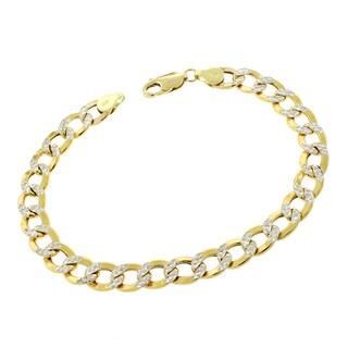 14k Gold 8mm Hollow Two-tone Cuban Curb Link Diamond-cut Pave Bracelet