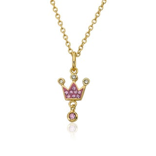 Molly Glitz Pretty Princess 14k Goldplated Pink Crystal Top Crown 14-inch Charm Pendant Necklace