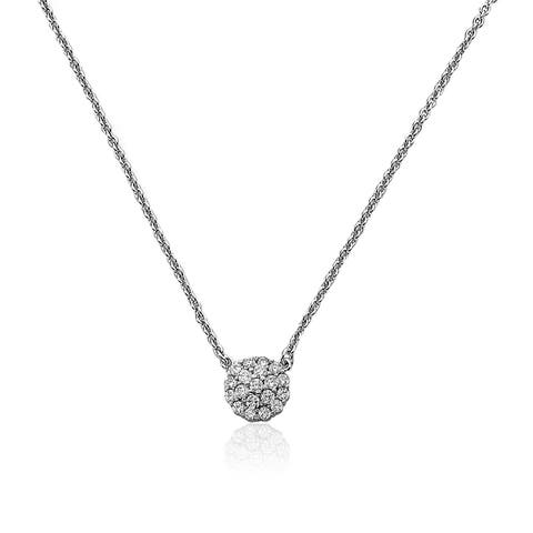 Riccova Radiance Bijou Rhodium Plated Cubic Zirconia 16-inch plus 2-inch Necklace with Round Charm Set