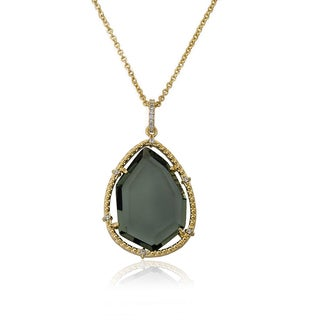 Radiance Bijou by Riccova 14k Goldplated Black Sliced Glass Teardrop Pendant Chain Necklace