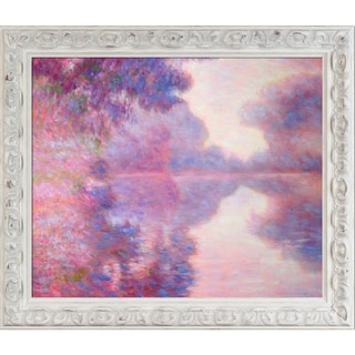 Claude Monet 'Misty Morning on the Seine' (pink) Hand Painted Framed Canvas Art