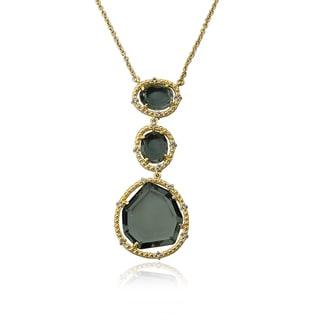 Riccova Radiance Bijou 14k Goldplated Triple Black Sliced Glass 16-inch Pendant Chain Necklace