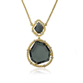 Riccova Radiance Bijou 14k Goldplated Black Sliced Glass Pendant Chain Necklace