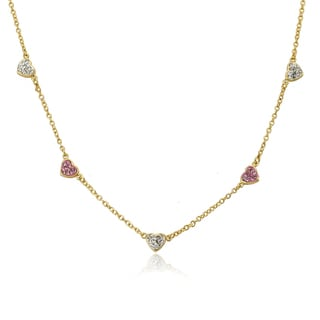Molly Glitz Heart of Jewels 14k Gold-plated Alternating Pink/White Crystal Hearts 14-inch Chain Necklace