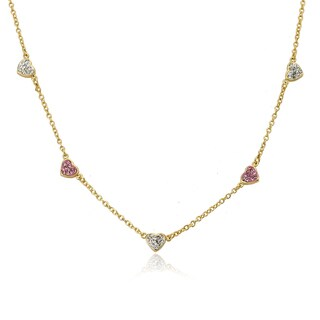 Molly Glitz Heart of Jewels Gold-plated Alternating Pink/White Crystal Hearts 14-inch Chain Neck