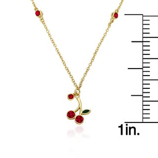 Molly Glitz Cherry Delight 14k Goldplated Crystal Cherry Drop Necklace