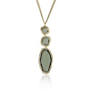Riccova Radiance Bijou 14k Goldplated Black Glass Sliced Stone 30-inch Pendant Double-strand Chain Necklace