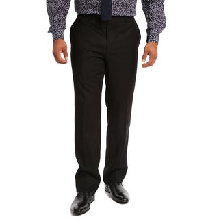 Verno Men's Black Polyester and Viscose Slim Fit Flat-front Dress Pants