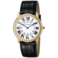 Cartier Men's W6700455 'Ronde Solo' 18kt Yellow Gold Black Leather Watch