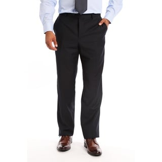 Verno Men's Blue Polyester, Viscose Slim Fit Flat-front Dress Pants