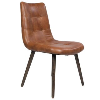 Alamo Brown Tufted Leather Dining Chair