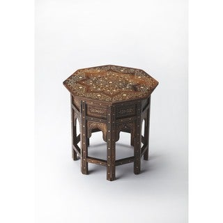 Butler Handcrafted Octagonal Accent Table in Wood and Bone Inlay Finish