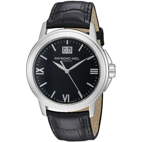 Raymond Weil Men's 5576-ST-00207 'Tradition' Black Leather Watch