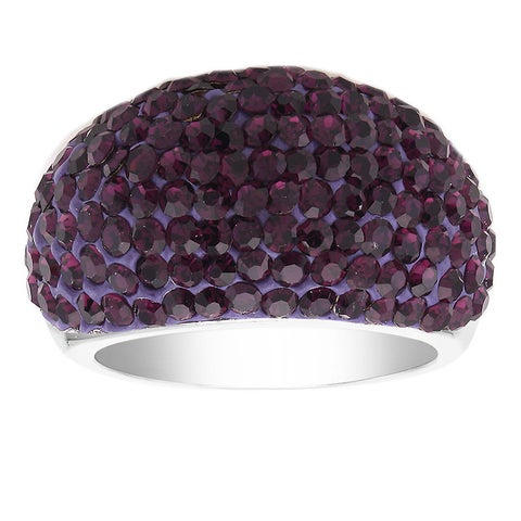 Rhodium-plated Amethyst Crystal Dome Ring