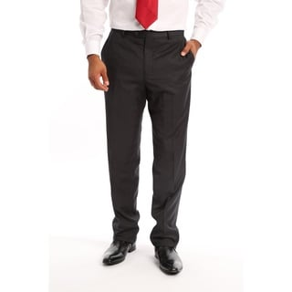 Verno Men's Slim Fit Flat-front Charcoal Polyester Viscose Dress Pants