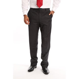 Verno Men's Slim Fit Flat-front Charcoal Polyester Viscose Dress Pants (More options available)