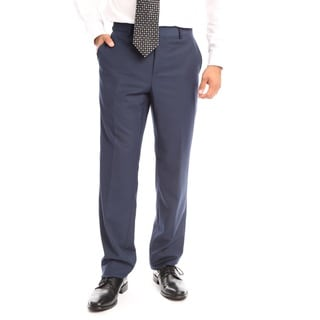 Verno Men's Navy Polyester and Viscose Classic Fit Flat-front Dress Pant