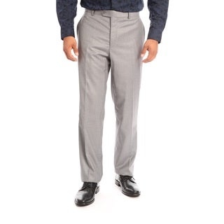 Verno Men's Grey Polyester and Viscose Slim Fit Flat-front Light Dress Pants
