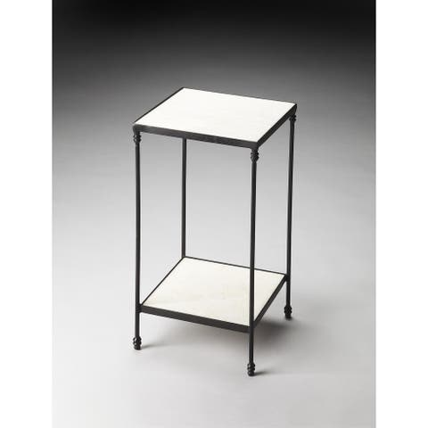 Handmade Larkin Black/White Marble and Iron End Table (India)