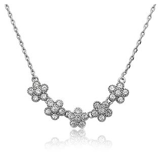 Little Miss Twin Stars Little Miss Flower Rhodium Plated Cubic Zirconia 14-inch 2-inch Small Flowers Chain Necklace