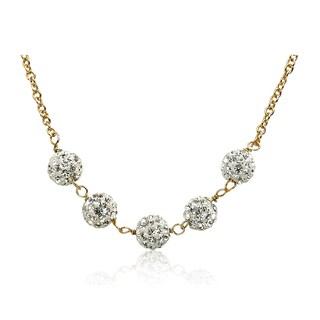 Molly Glitz Glitz Blitz 14k Gold-plated 14-inch 5 Clear Crystal Balls Chain Necklace