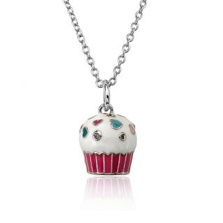 Molly Glitz Little Miss Twin Stars Candyland White Enamel Top and Hot Pink Bottom Cupcake 14-inch 2-inch Pendant Chain Necklace