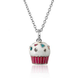 Molly Glitz Little Miss Twin Stars Candyland White Enamel Top and Hot Pink Bottom Cupcake 14-inch 2-inch Pendant Chain Necklace|https://ak1.ostkcdn.com/images/products/12069882/P18937791.jpg?impolicy=medium