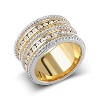 Brass Goldplated 5-row Crystal Stacking Ring