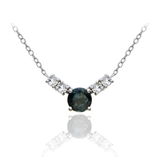Glitzy Rocks Sterling Silver 1 1/2ct TGW London Blue and White Topaz 5-stone Necklace