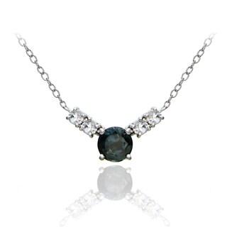 Glitzy Rocks Sterling Silver 1 1/2ct TGW London Blue and White Topaz 5-stone Necklace