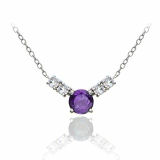 Glitzy Rocks Sterling Silver African Amethyst and White Topaz 5-stone Necklace