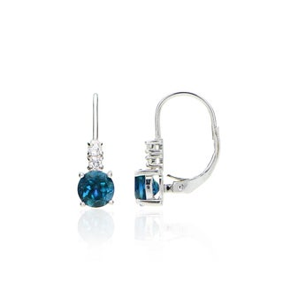Glitzy Rocks Sterling Silver London Blue and White Topaz Round Leverback Earrings