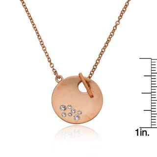 Riccova Radiance Bijou Retro Satin Brass Cubic Zirconia 16-inch Studded Circle Toggle Necklace