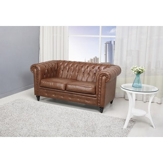 Mocha Tufted Leather Loveseat With Nailheads Reviews