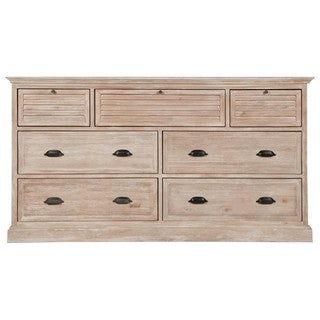 Gray Manor Melanie Beige Acacia MDF Wood 7-drawer Media Dresser