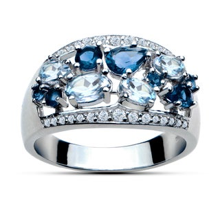 Glitzy Rocks Sterling Silver 2 1/3ct TGW London Blue, White and Blue Topaz Cluster Ring