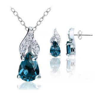 Glitzy Rocks Sterling Silver London Blue and White Topaz Swirl Teardrop Necklace Earrings Set