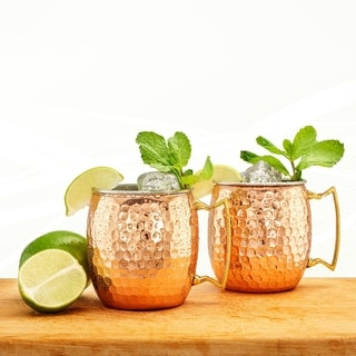 Old Dutch Hammered Solid Copper and Stainless Steel 2-ply 16-ounce Moscow Mule Mugs (Set of 2)