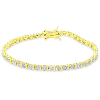 Finesque Gold Over Silver or Sterling Silver 1/4ct TDW Diamond Bracelet