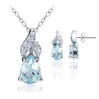 Glitzy Rocks Sterling Silver Blue and White Topaz Swirl Teardrop Necklace Earrings Set