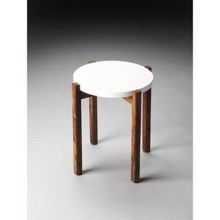 Handmade Butler Del Mar Off-white and Brown Painted Wood and MDF End Table (India)