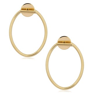 Fremada 14k Yellow Gold High Polish Oval and Bar Front Back Earrings