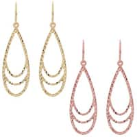 Fremada 14k Gold Diamond-cut Surfaced Teardrop Dangle Earrings