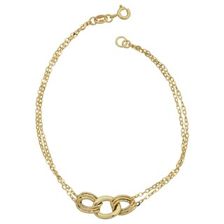 Fremada 14k Yellow Gold Diamond-cut Link and Double Strand Bracelet (7.5 inches)