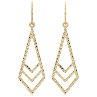 Fremada 10k Yellow Gold Diamond-cut Surfaced Inverted Kite Dangle Earrings